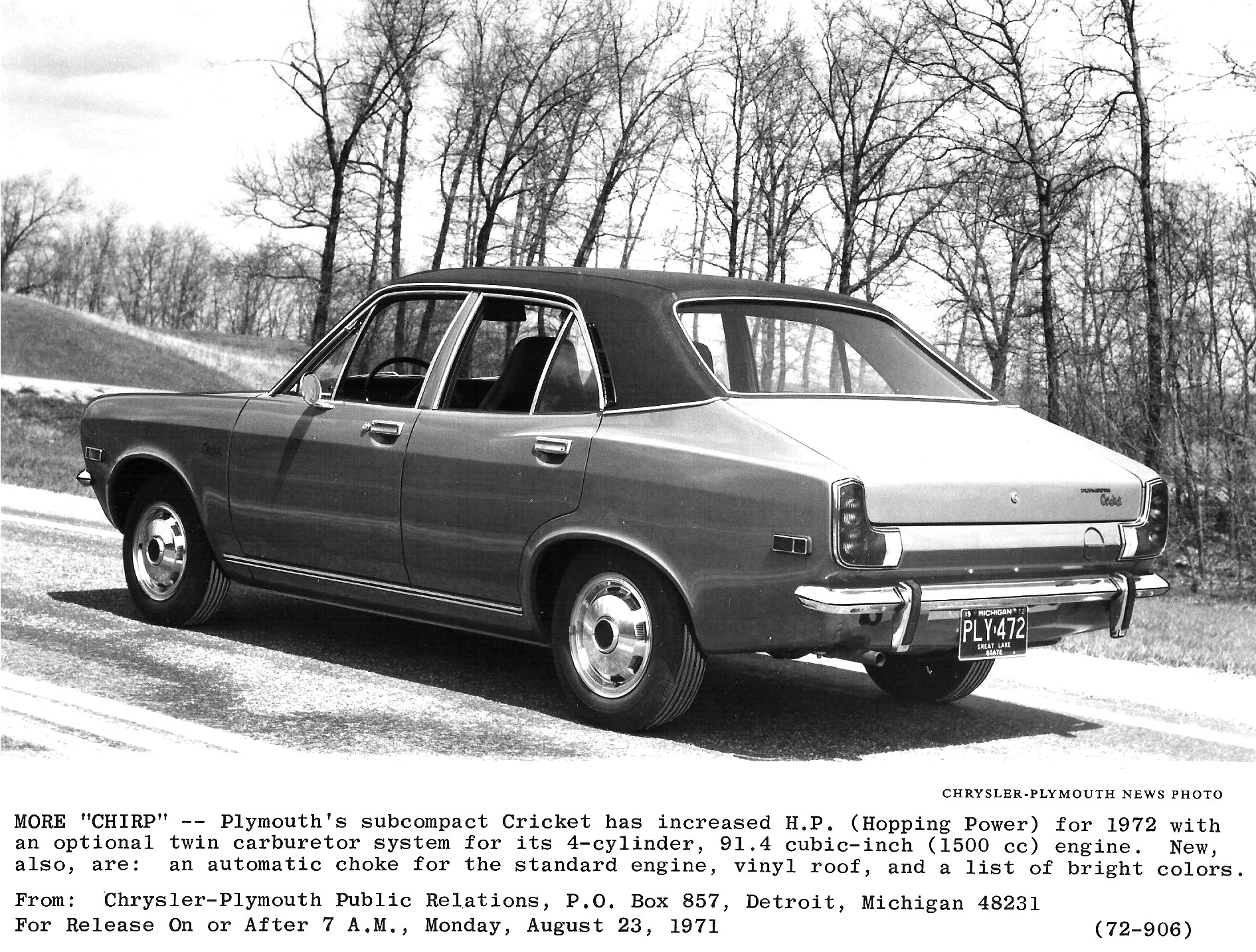 1972 Plymouth Cricket Information And Photos Momentcar